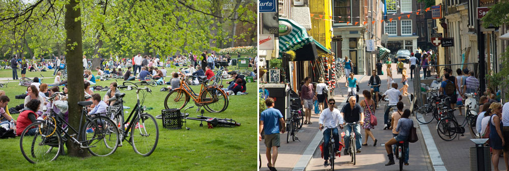 Left: Vondelpark; Right: Utrechtstraat.