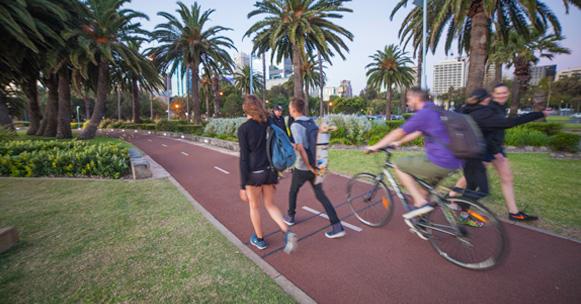 ความแออัดของคนเดินเท้าจากนักปั่นจักรยานบนเส้นทางจักรยาน