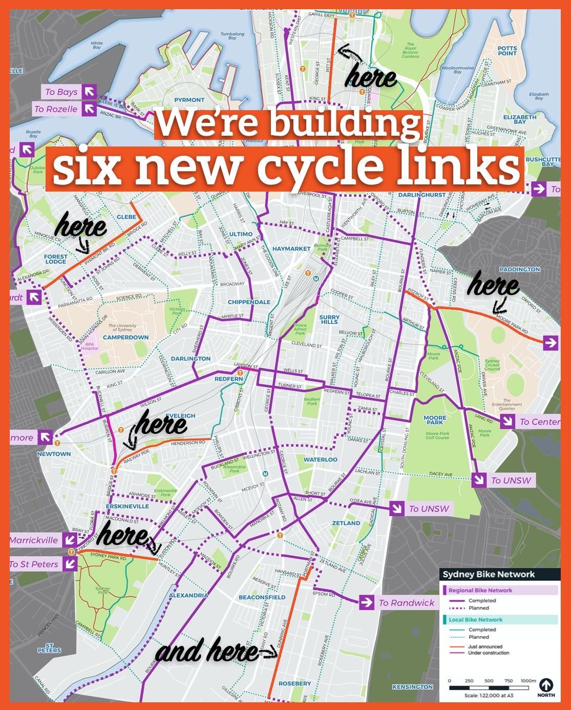 Sydney's six new cycle links