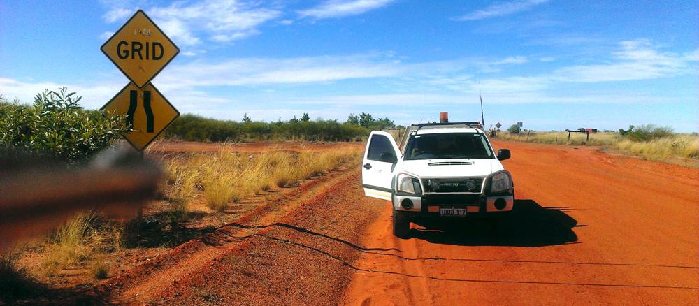 Survey traffic on dirt roads in Australia